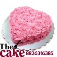 Heart Shape Pink Roses Cake