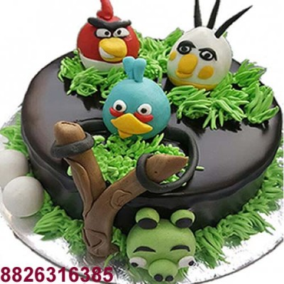 Angry Bird Jungle Theme Cartoon Cake Delivery In Delhi And Noida