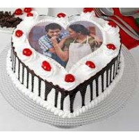 Cute Heart Photo Cake