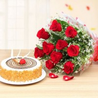 Butter Scotch Cake With 20 Roses Combo